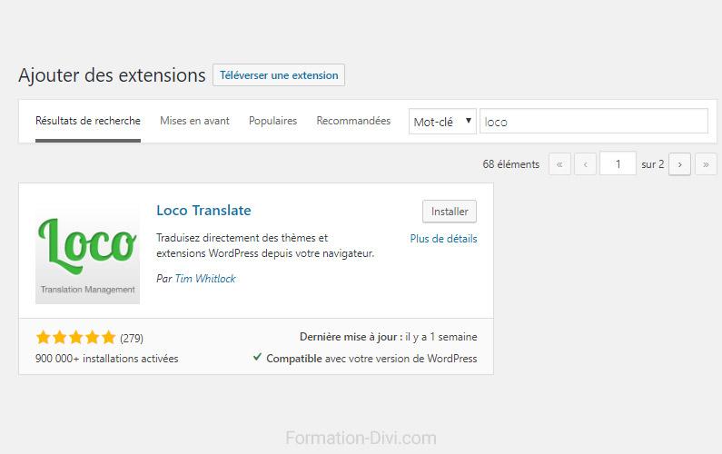 Traduire Divi ou Extra thèmes avec LocoTranslate