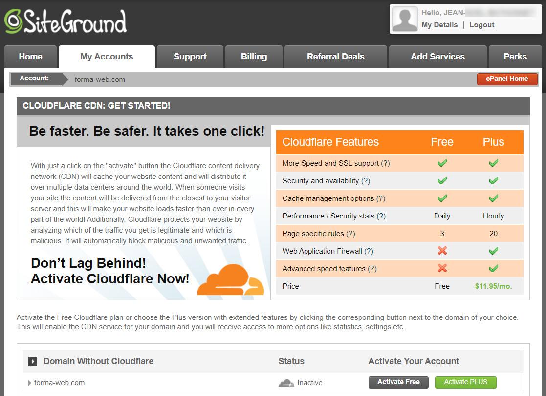L'option CDN CloudFlare chez SIteGround