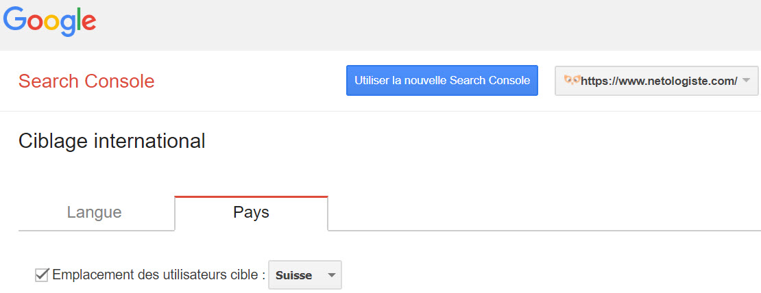 Dire à Google que l'on souhaite cibler un pays en particulier