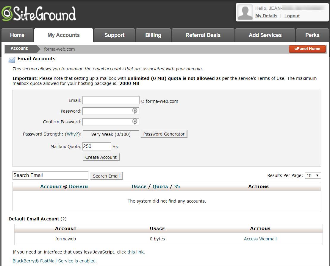 L'interface de création d'un email via le cPanel offert par SiteGround