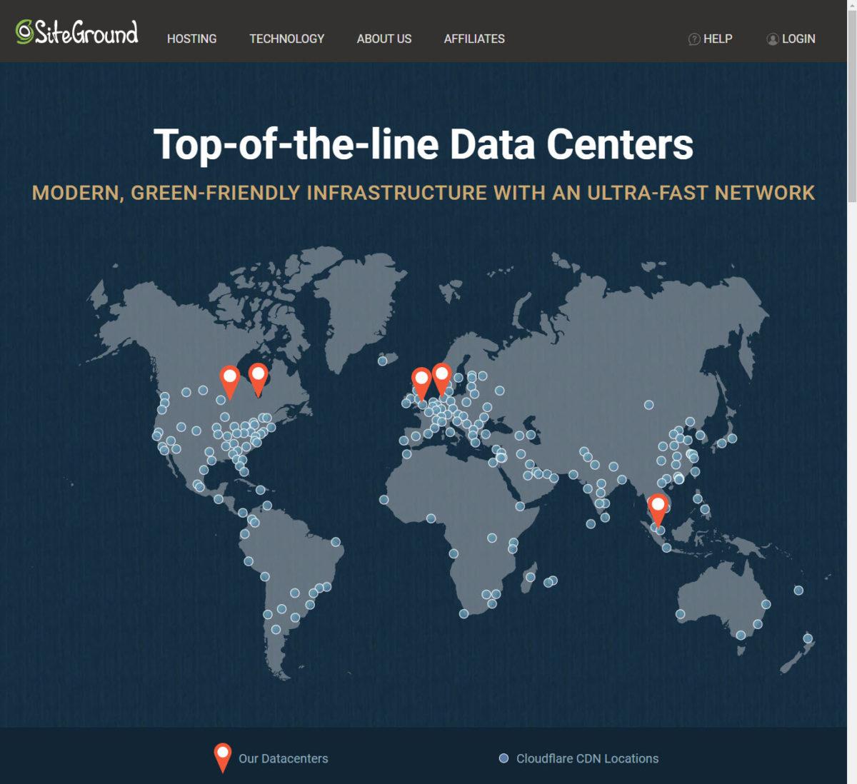 L'emplacement des data centers de SiteGround sur 3 continents, ainsi que les liaisons CDN