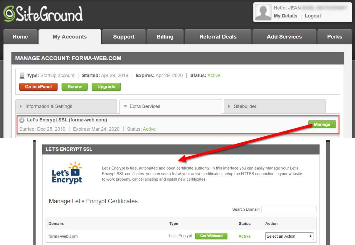 Mon certificat SSL gratuit chez SiteGround