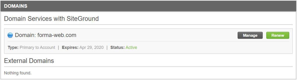 Mon nom de domaine chez SiteGround