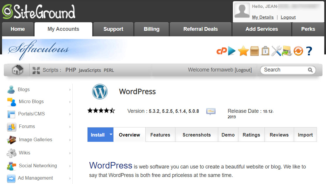 L'auto-installeur de WordPress chez SiteGround via Softaculous