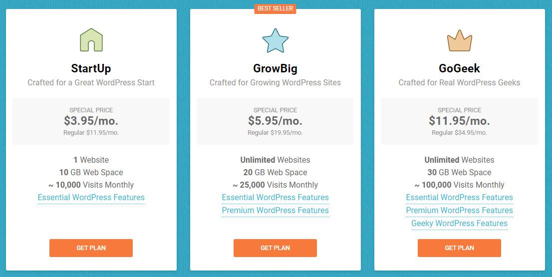 Les offres d'hébergement SiteGround (février 2020)