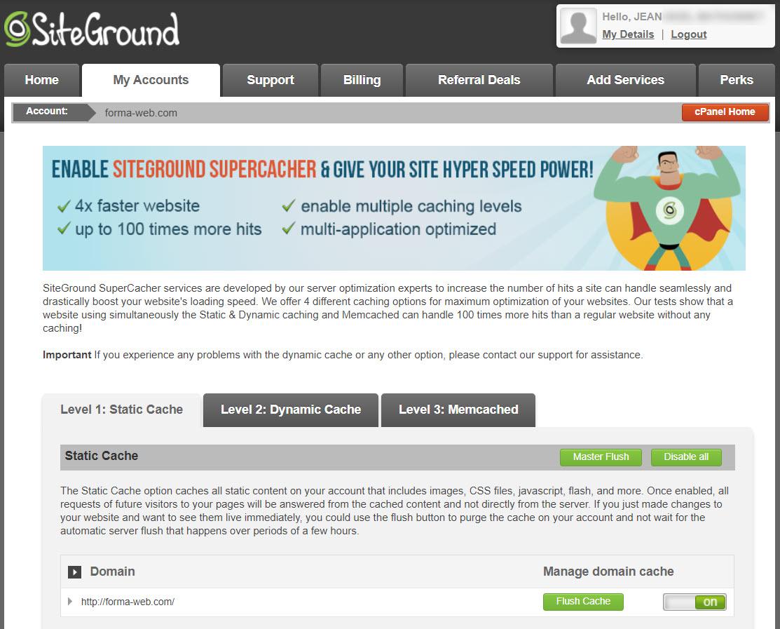 Les 3 systèmes de cache de SiteGround